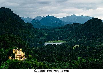 mooi, duitser, kasteel, aanzicht, natuur