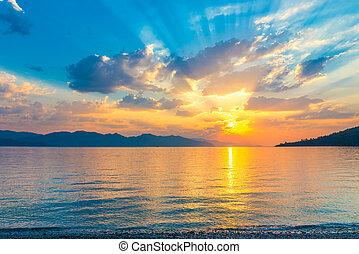 mooi, egeïsch, landschap, op, stille , zee, zonopkomst