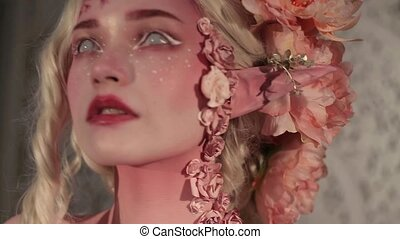 mooi, elf., bodyart, jonge, creatief, make-up, meisje