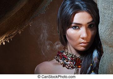 mooi en gracieus, en, innige, blik, van, amerikaan indiaas, meisje