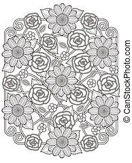 mooi en gracieus, floral ontwerpen, kleuren, pagina