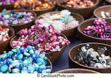 mooi en gracieus, gekleurde, steen, juwelen, en, beads.