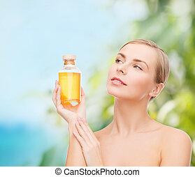mooi en gracieus, olie, vrouw, fles