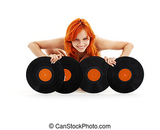 mooi en gracieus, roodharige, met, vinyl legt vast
