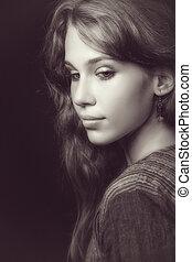mooi, en, sensueel, jonge vrouw