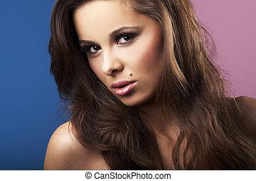 mooi, en, sexy, brunet