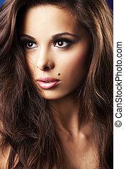 mooi, en, sexy, brunette, meisje