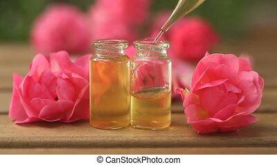 mooi, essentie, glas fles, roos, tafel