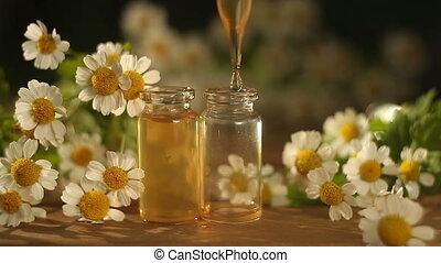 mooi, essentie, glas fles, tafel, bloemen