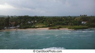 mooi, exotische , achteruit, boven, het tintelen, groot, vliegen, het openbaren, bomen, tropische , oever, neuriën, huisen, zee, waves.