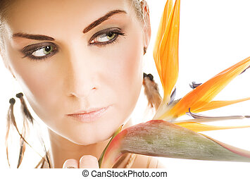mooi, exotische , vrouw, bloem