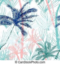 mooi, exotische , zomer, model, bomen, tropische , vector, palm