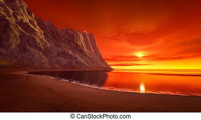 mooi, fantasie, ondergaande zon , op, de, oceaan