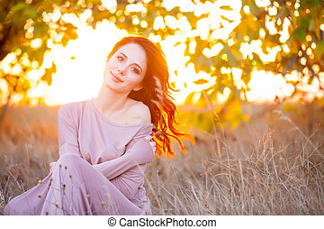 mooi, fantastisch, vrouw, boompje, jonge, prachtig, achtergrond, jurkje
