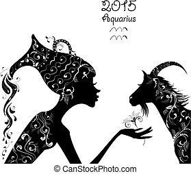 mooi, fashio, aquarius., meldingsbord, jaar, 2015, zodiac, chêvre