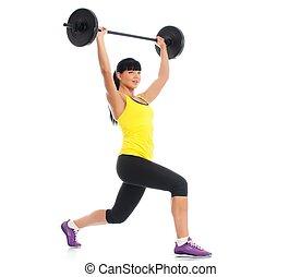 mooi, fitness, meisje, liftings, gewichten, vrijstaand, op...