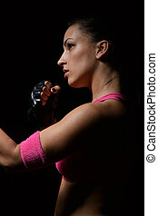 mooi, fitness, vrouw, boxing