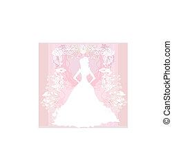 mooi, floral, abstract, bruid