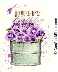 mooi, floral boeket, viooltje, achtergronden, of, watercolor, rozen, jarig, vector., uitnodiging, datum, sparen, template., kaart, vrolijke