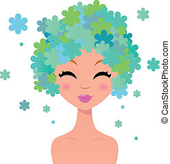 mooi, floral, hairstyle, vrouw