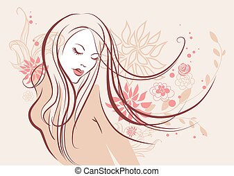 mooi, floral, meisje