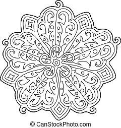 mooi, floral model, voor, kleurend boek, pagina