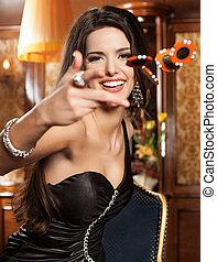 mooi, foto, brunette, toneelstukken, casino.
