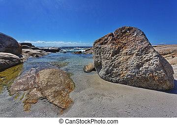 mooi, gebied, binalong, baai, kust, tasmanië
