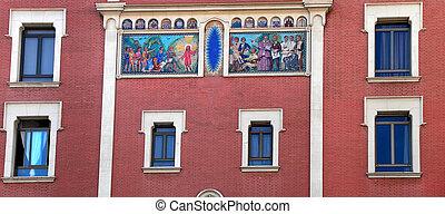 mooi, gebouw facade, barcelona, spanje