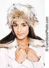 mooi, gecoordineerd, model, mode, winter