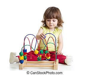 mooi, geitje, met, onderwijsstuk speelgoed