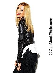 mooi, gekke , gek, vrouw, glamor, jonge, model, studio, blonde , modieus, hipster, sexy, kleren, het glimlachen, black