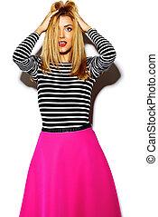 mooi, gekke , gek, vrouw, glamor, model, jonge, roze, studio, blonde , modieus, hipster, sexy, het glimlachen, kleren