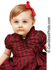 mooi, gekke , klein meisje, met, blauwe ogen