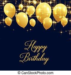 mooi, gelukkige verjaardag, groet, met, gouden, ballons