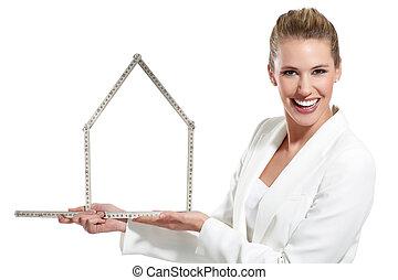 mooi, gelukkige vrouw, het tonen, een, woning, symbool