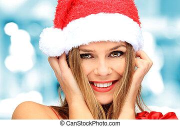 mooi, gelukkige vrouw, kerstmis, jonge