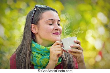 mooi, genieten, koffie, meisje, natuur