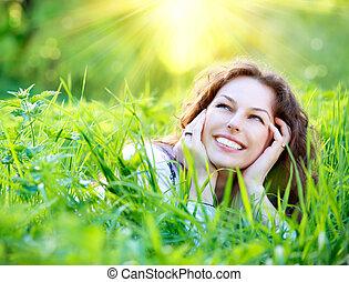 mooi, genieten, vrouw, natuur, jonge, outdoors.