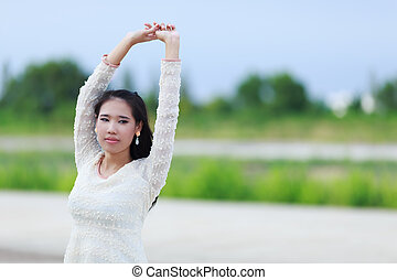 mooi, genieten, vrouw, natuur, meadow., aziaat