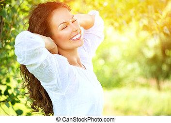mooi, genieten, vrouw, natuur, outdoor., jonge