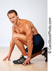 mooi, gespierd, man, doen, fitness, exercise.