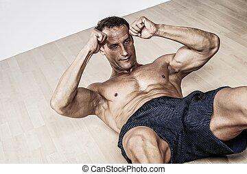 mooi, gespierd, man, doen, fitness oefening