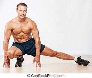 mooi, gespierd, man, doen, stretching, exercise.