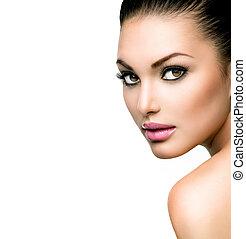 mooi gezicht, van, jonge vrouw , met, schoonmaken, fris, huid