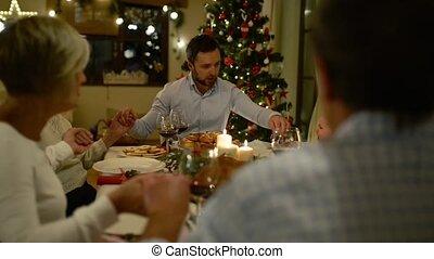 mooi, gezin, groot, samen, vieren, christmat
