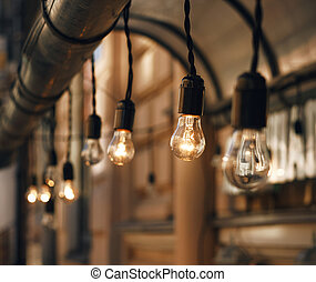 mooi, gloeiend, draad, lampen, hangend