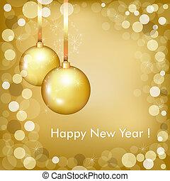 mooi, goud, ontwerp, jaar, nieuw, vrolijke