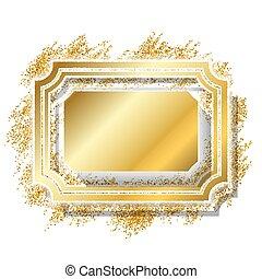 mooi, gouden, deco, goud, foto, elegant, decoratief, schitteren, design., stijl, banner., ouderwetse , vrijstaand, achtergrond., luxe, witte kerst, frame., illustratie, kader, grens, versiering, vector
