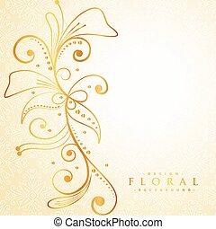 mooi, gouden, floral, achtergrond